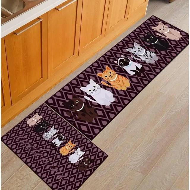 2 pieces tapis cuisine devant evier antiderapant t