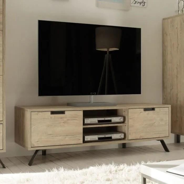 petit meuble tv moderne couleur bois clair jace