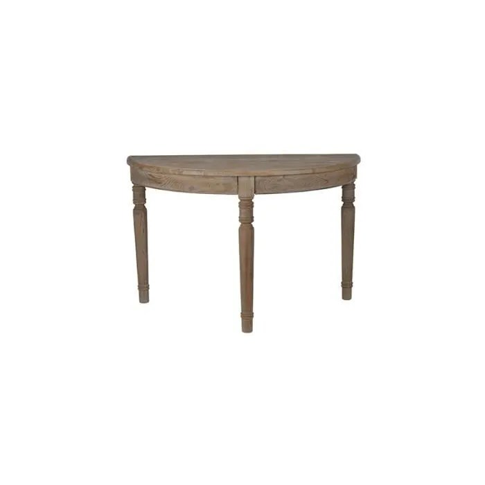 table console demie lune pin massif 122x61x78cm