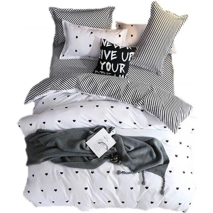 housse de couette romantique sucre cœur bleu gris blanc garcon parures de lit avec taie d oreiller polyester blanc 220x240cm