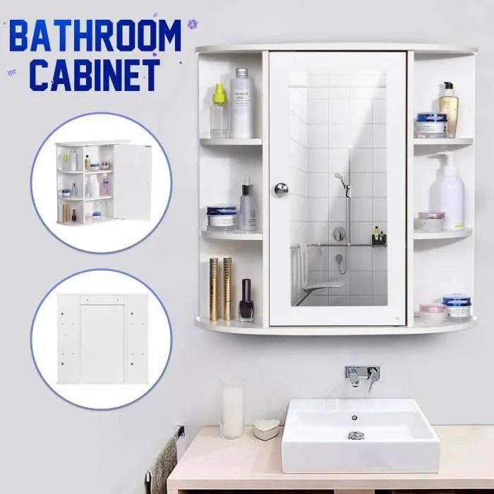 insma meuble de salle de bain mural porte magnetique avec mirroir 9 compartiments etageres cabinet rangement armoire de toilette