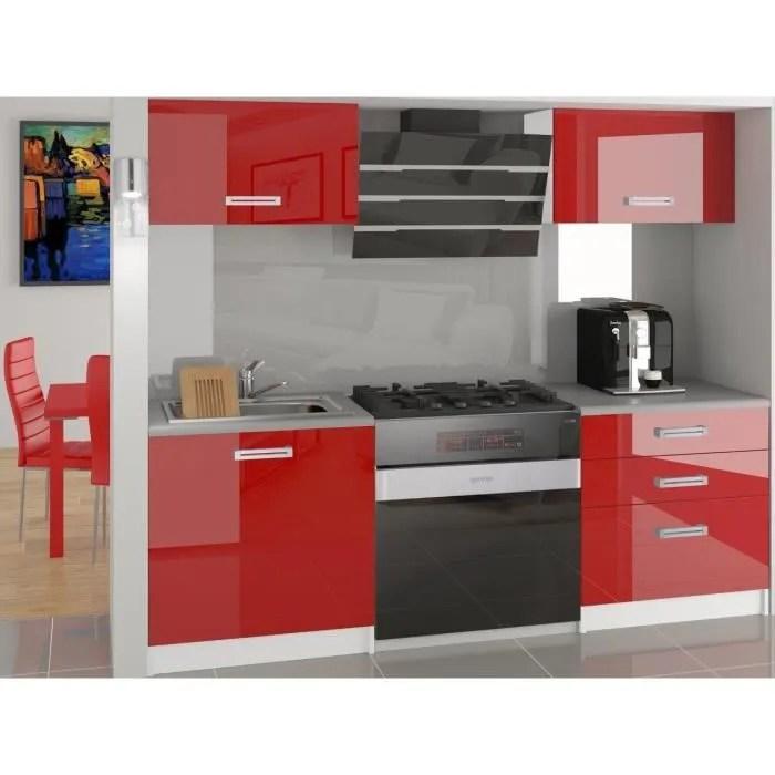 mezzo cuisine complete modulaire lineaire l 120 cm 4 pcs plan de travail inclus meubles cuisine rouge gris