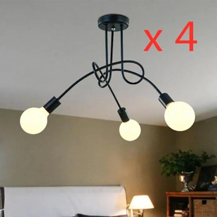 4 pcs plafonnier luminaire 3 spots luminaire design moderne eclairage plafond lampe salon cuisine couloir chambre e27 noir