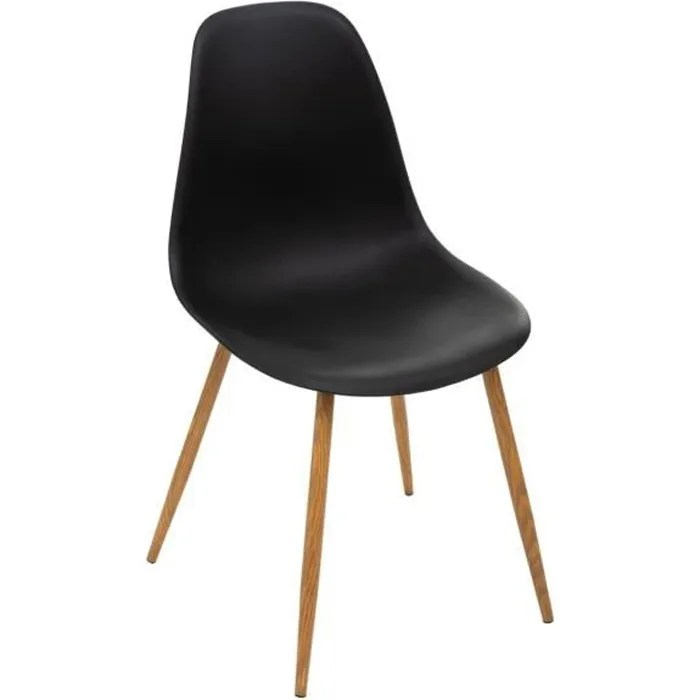 atmosphera chaise noire pieds facon chene collection taho