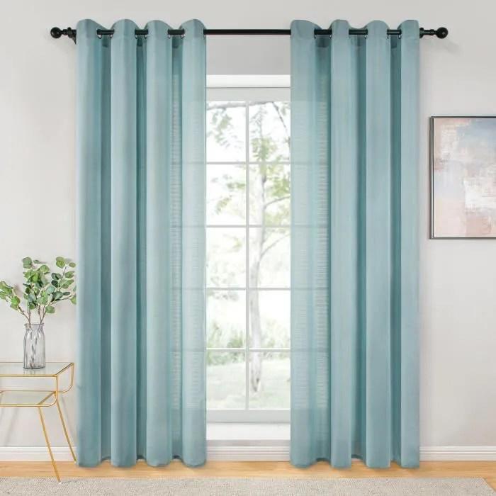 rideaux voilage 140cm x 280cm bleu pour salo