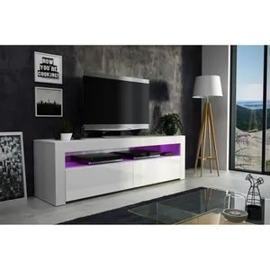 meuble tv blanc laque cdiscount maison