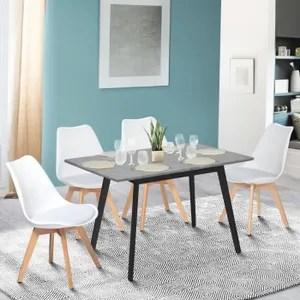 birgit lot de 4 chaises en tissu gris