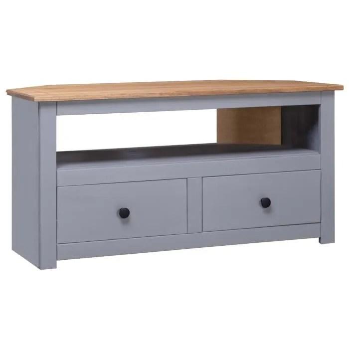meuble tv meuble de salon contemporain d angle gris 93x55x49cm pin solide assortiment panama