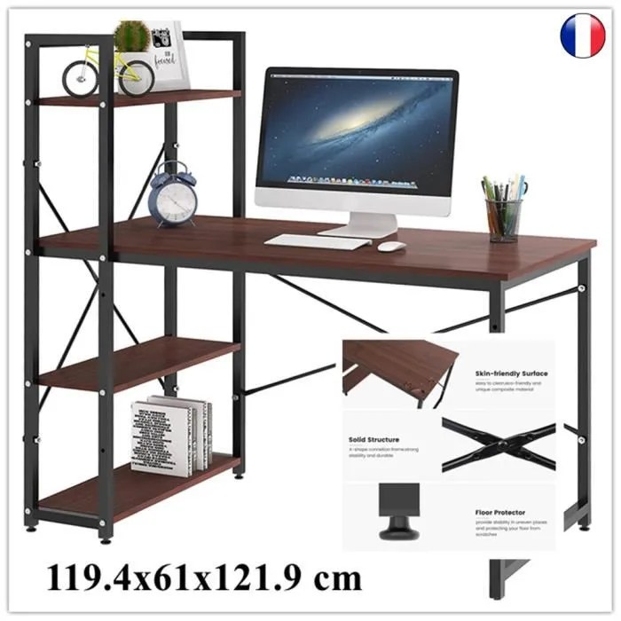 dripex table de bureau en bois et acier a 4 niveaux noir et chene clair 119 4 x 61 x 121 9 cm