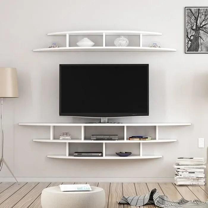 etagere murale tv bois