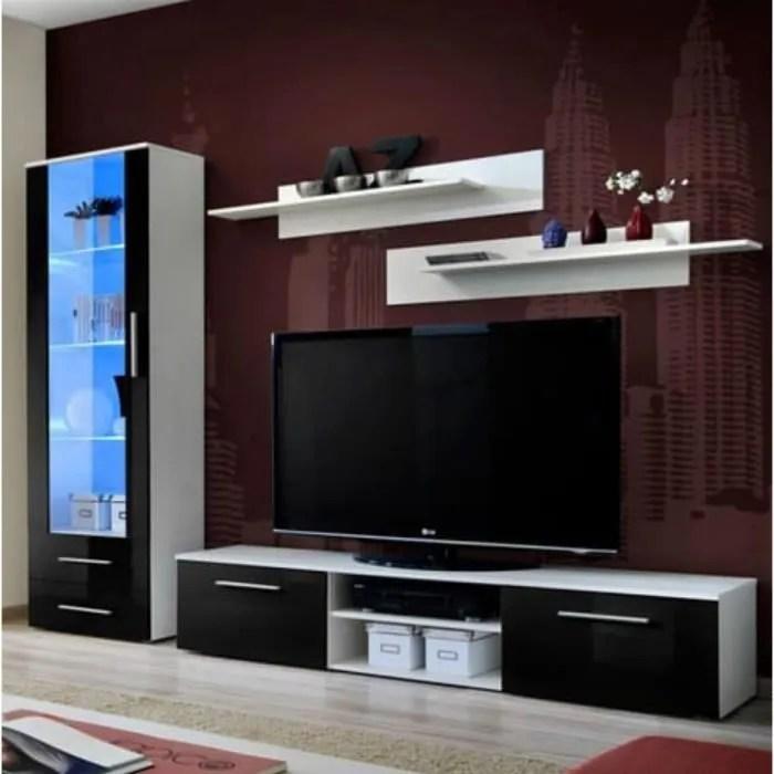 meuble tv galino design coloris noir et blanc brillant meuble moderne et tendance pour votre salon 45 noir