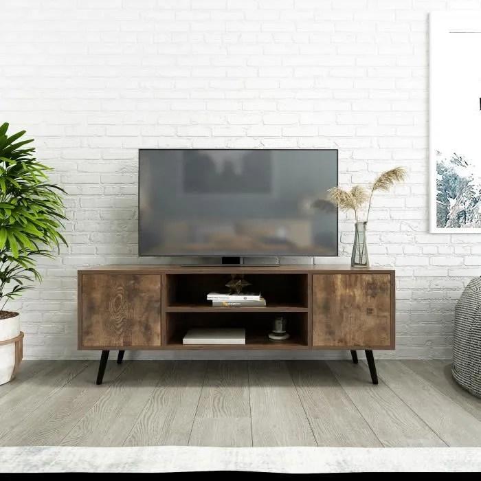 meuble tv en bois avec pieds en metal