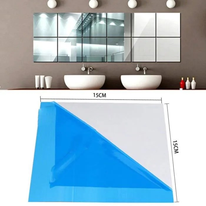 sticker miroir adhesif 15x15cm