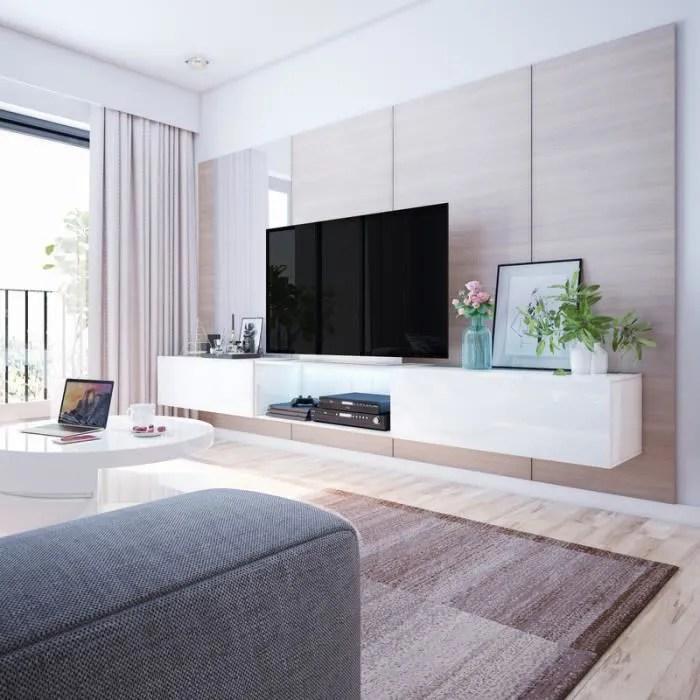 meuble tv suspendu meuble de salon larka 3x100 cm blanc mat blanc brillant avec led style moderne