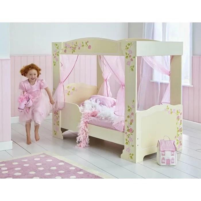 lit enfant fille a baldaquin en bois rose et blanc