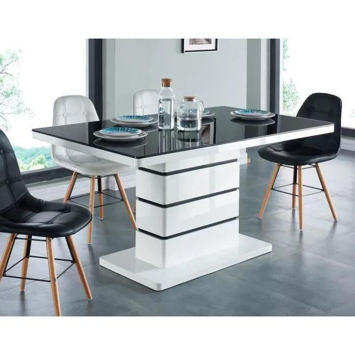 lucia table a manger 6 personnes contemporain laque blanc brillant plateau en verre trempe noir l 150 x l 90 cm