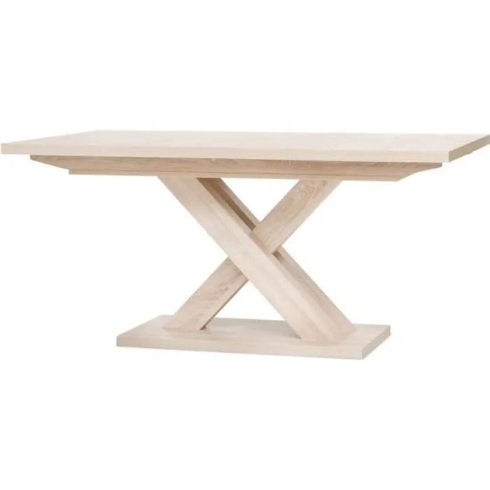 avant table extensible melamine style contemporain pieds central en croix l 160 a 200 cm