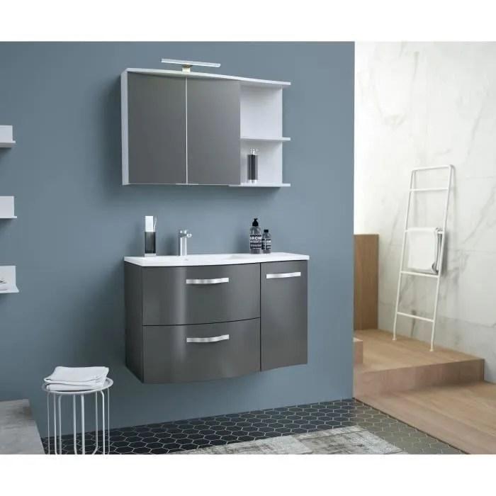 onde meuble de salle de bain simple vasque l 90cm gris brillant