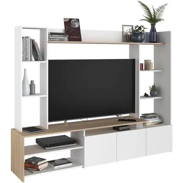 meuble tv chene blanc made in france l 197cm