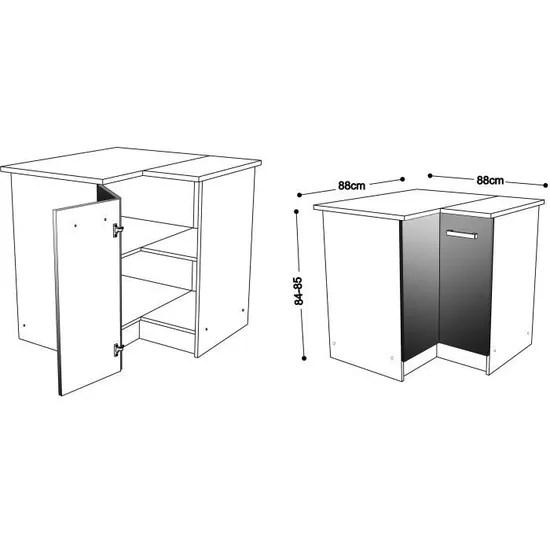 start meuble de cuisine bas d angle avec plan de travail l 88 x p 88 cm decor frene sable
