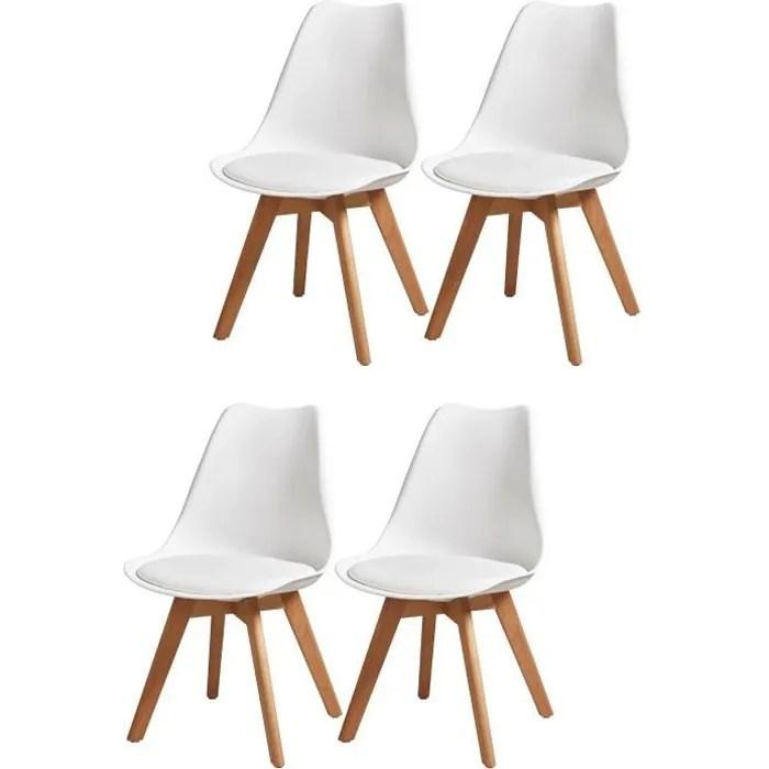 bjorn lot de 4 chaises de salle a manger simili blanc scandinave l 49 x p 56 cm