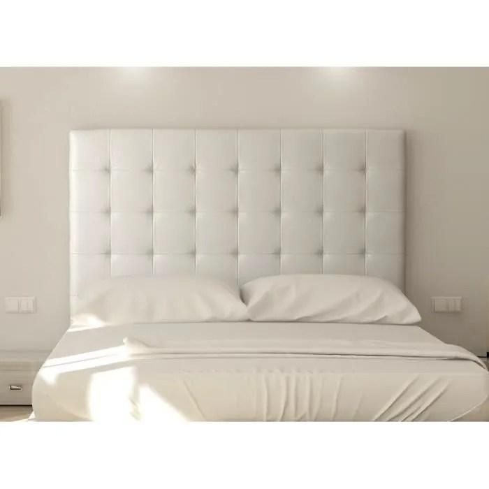 sogno tete de lit capitonnee simili blanc l 180 cm