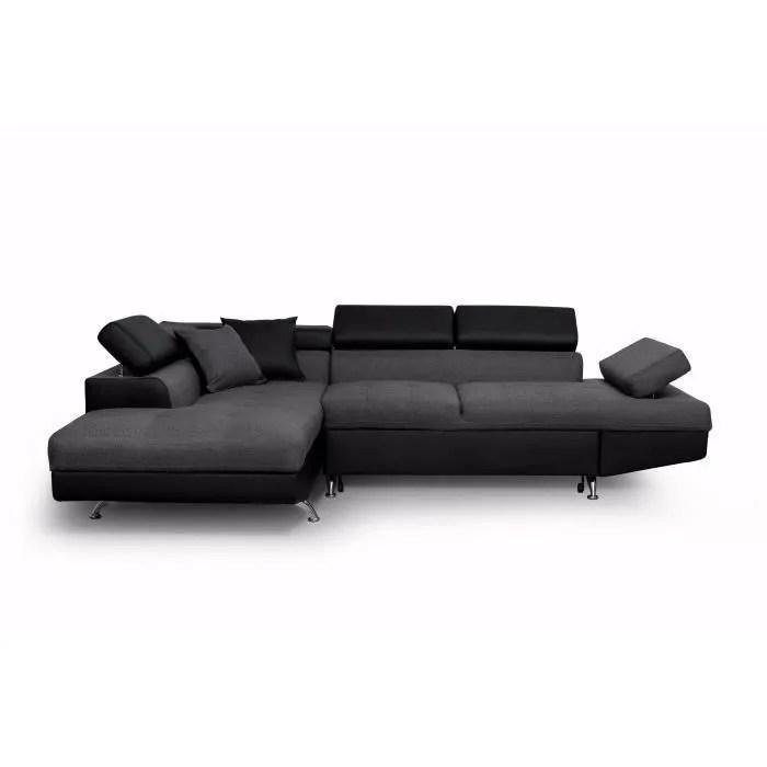 futura canape d angle gauche convertible 4 places coffre de rangement tissu gris fonce et simili noir l 272 x p 192 cm