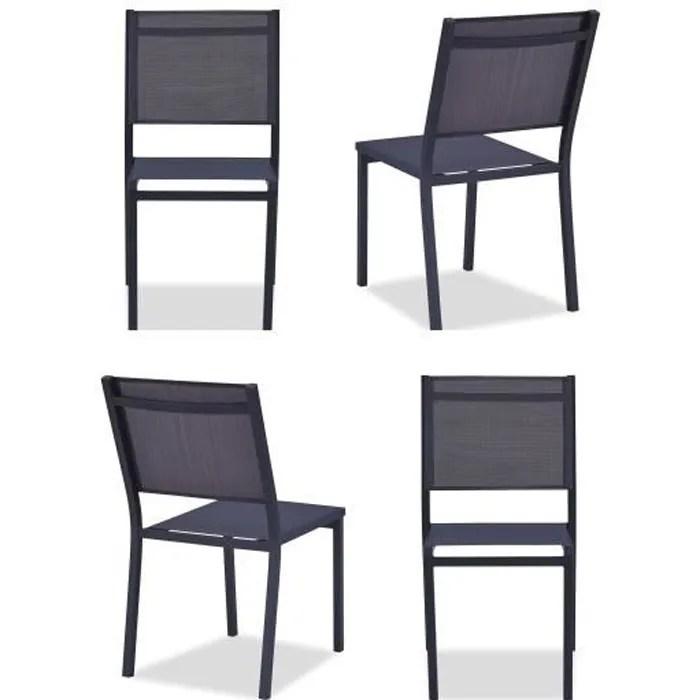 lot chaises de jardin textilene et aluminium