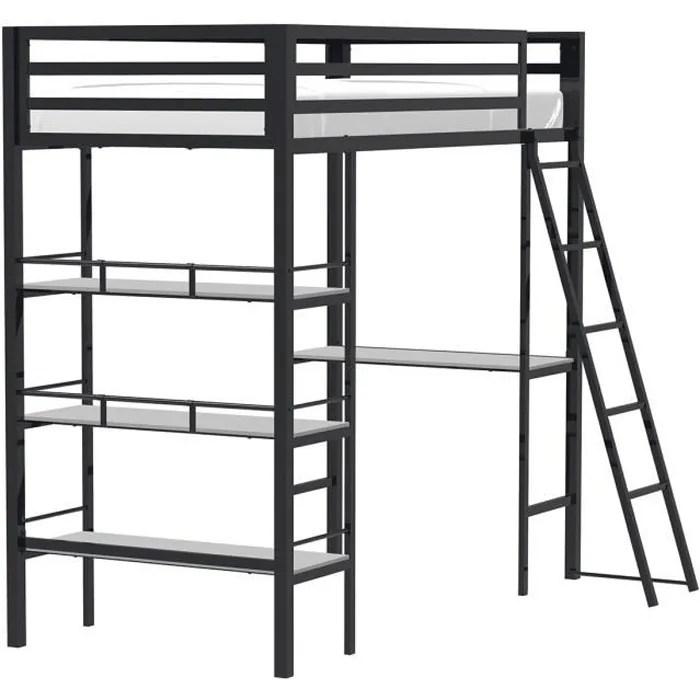 lit mezzanine avec bureau noir