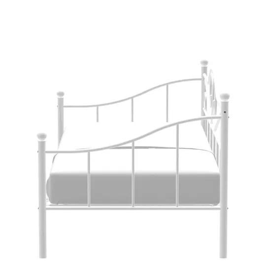 lit banquette en metal blanc sommier inclus 90 x 190 cm sophia