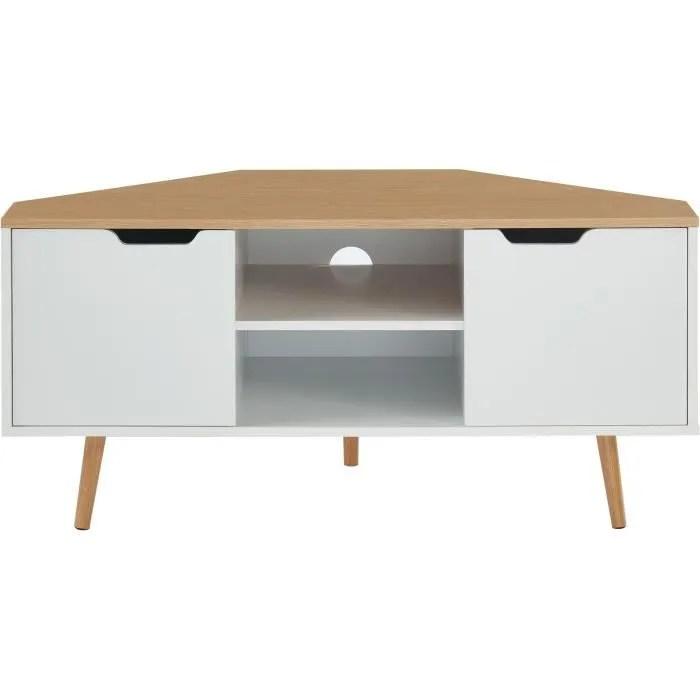 meuble tv d angle decor blanc et
