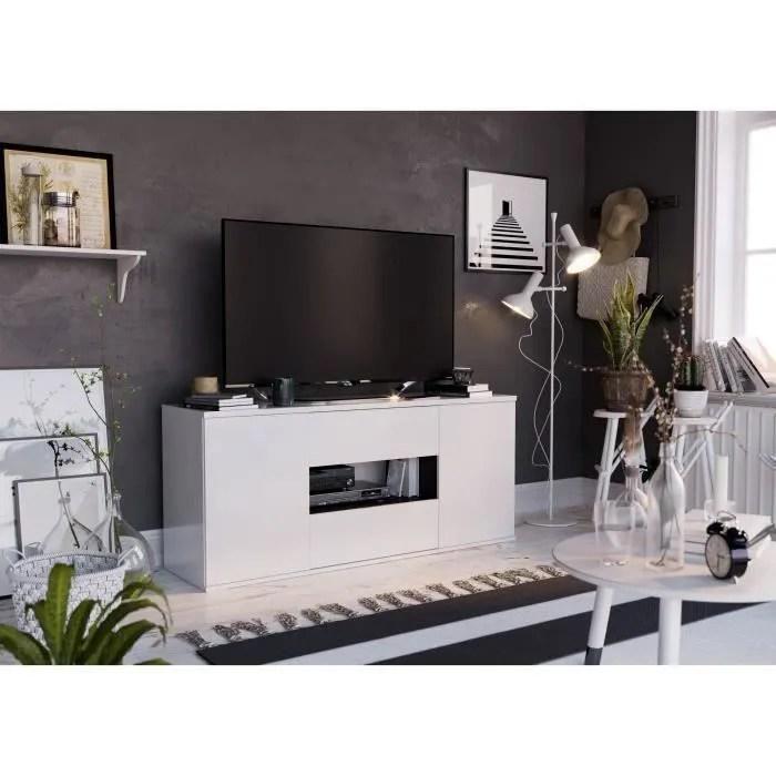 star meuble tv 2 portes 2 tiroirs blanc brillant
