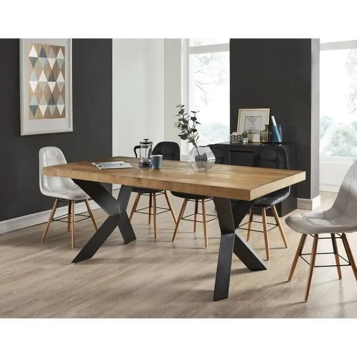 table chene pied metal