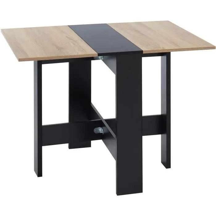 juno table de sejour pliante 4 personnes decor chene et noir l 104 x 76 x 74 cm