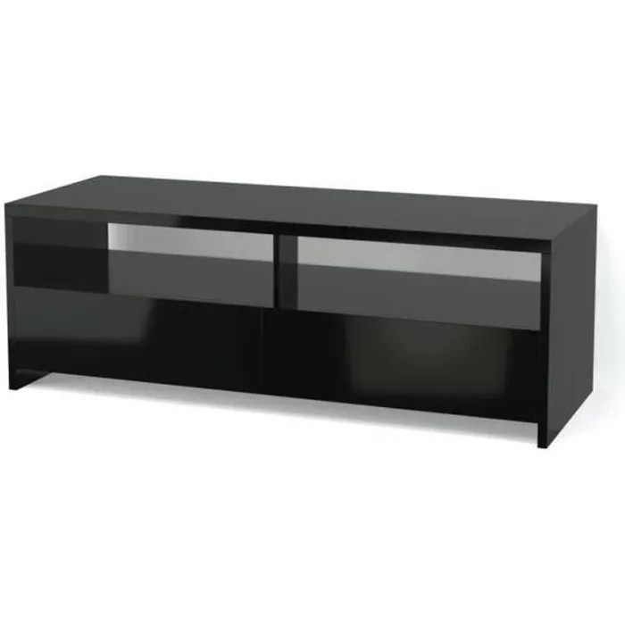 banco meuble tv contemporain noir brillant l 110 cm