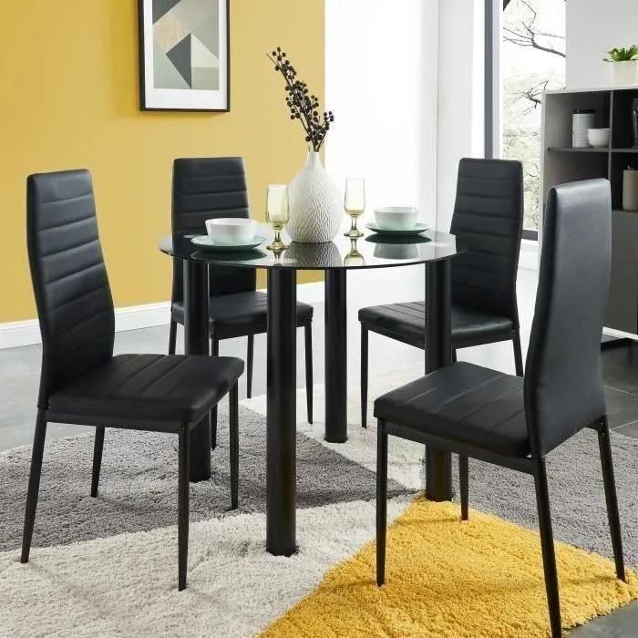 berenice ensemble table a manger ronde en verre 4 personnes 90 cm 4 chaises en simili noir