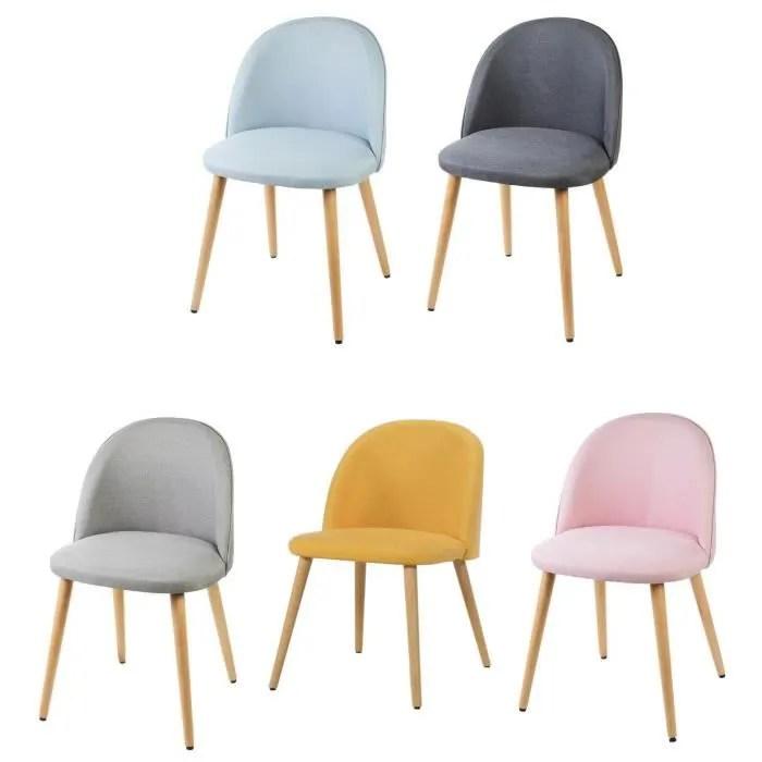 macaron lot de 5 chaises de salle a manger tissu 5 couleurs assorties scandinave l 50 x p 50 cm