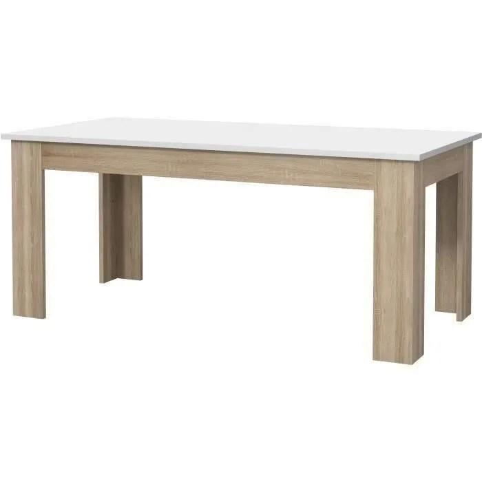 pilvi table a manger blanc et chene sonoma l 180 x i90 x h 75 cm