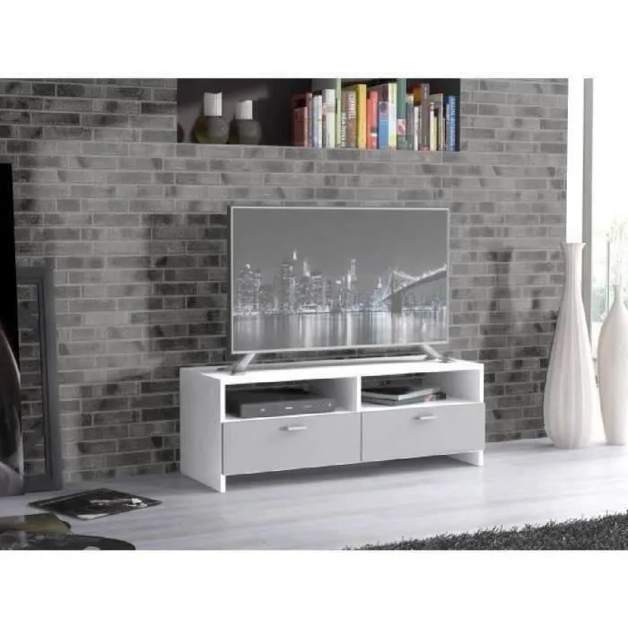 meuble tv contemporain blanc et gris mat l 95 cm