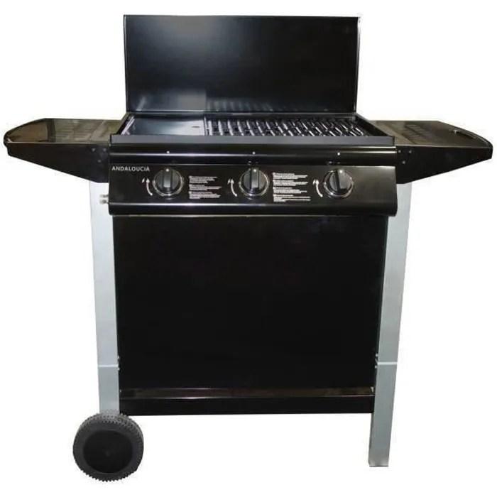 barbecue a gaz mixte grill plancha 3 bruleurs su
