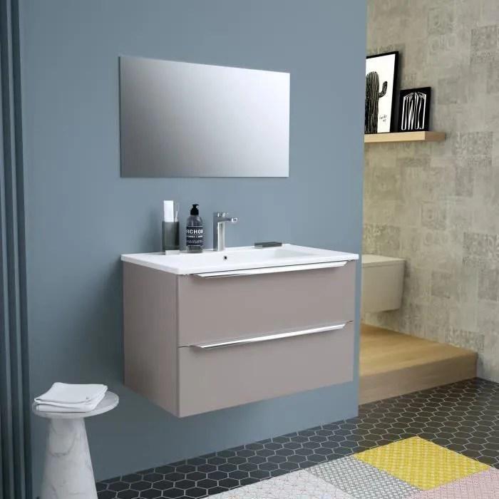 Meuble Salle De Bain Avec Vasque Et Miroir 80cm Achat Vente Pas Cher
