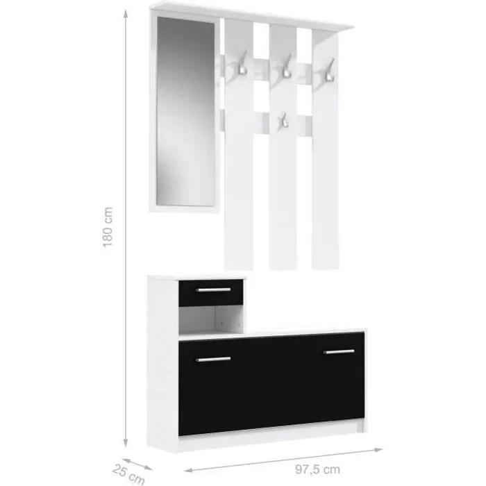 peili vestiaire d entree contemporain blanc et noir mat l 97 5 cm