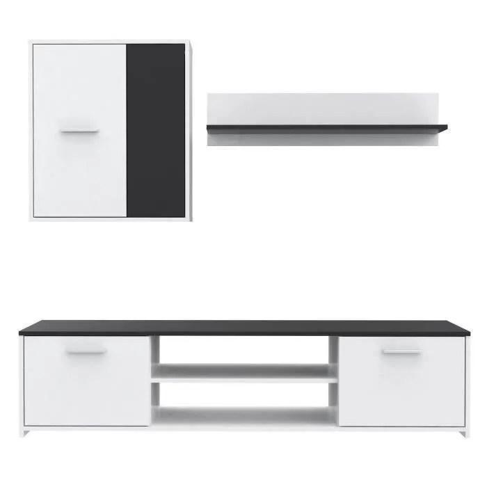 finlandek meuble tv mural katso contemporain blanc et noir l 160 cm