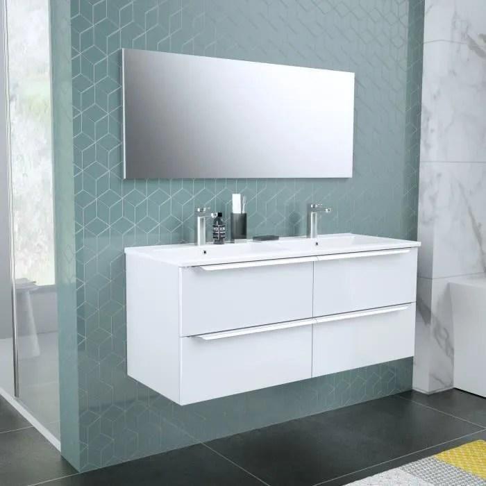 zoom meuble de salle de bain double vasque avec miroir l 120cm 4 tiroirs a fermeture ralenties blanc laque brillant