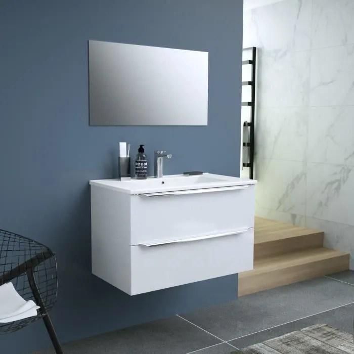 Zoom Meuble De Salle De Bain Simple Vasque Avec Miroir L 80cm 2 Tiroirs A Fermeture Ralenties Blanc Laque Brillant Achat Vente Salle De Bain Complete Zoom Ensemble