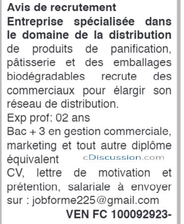 Entreprise Recrute Plusieurs Commerciaux, Côte D'ivoire
