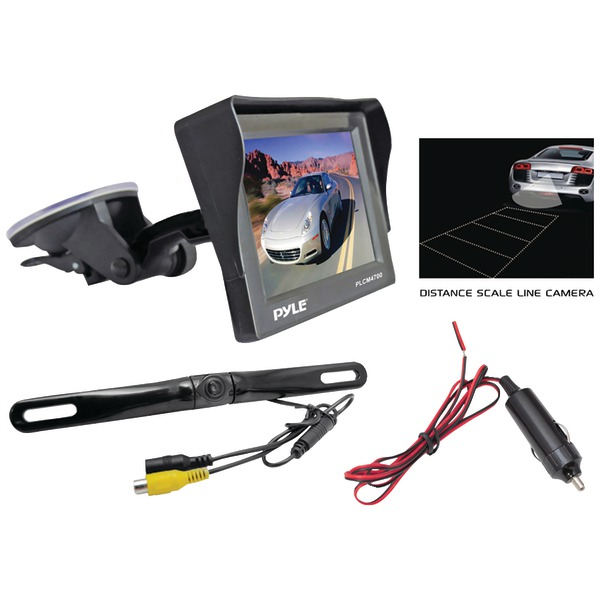 License Plate Mount Rearview Backup Color Camera with Distance Scale Line Zinc Black Chrome