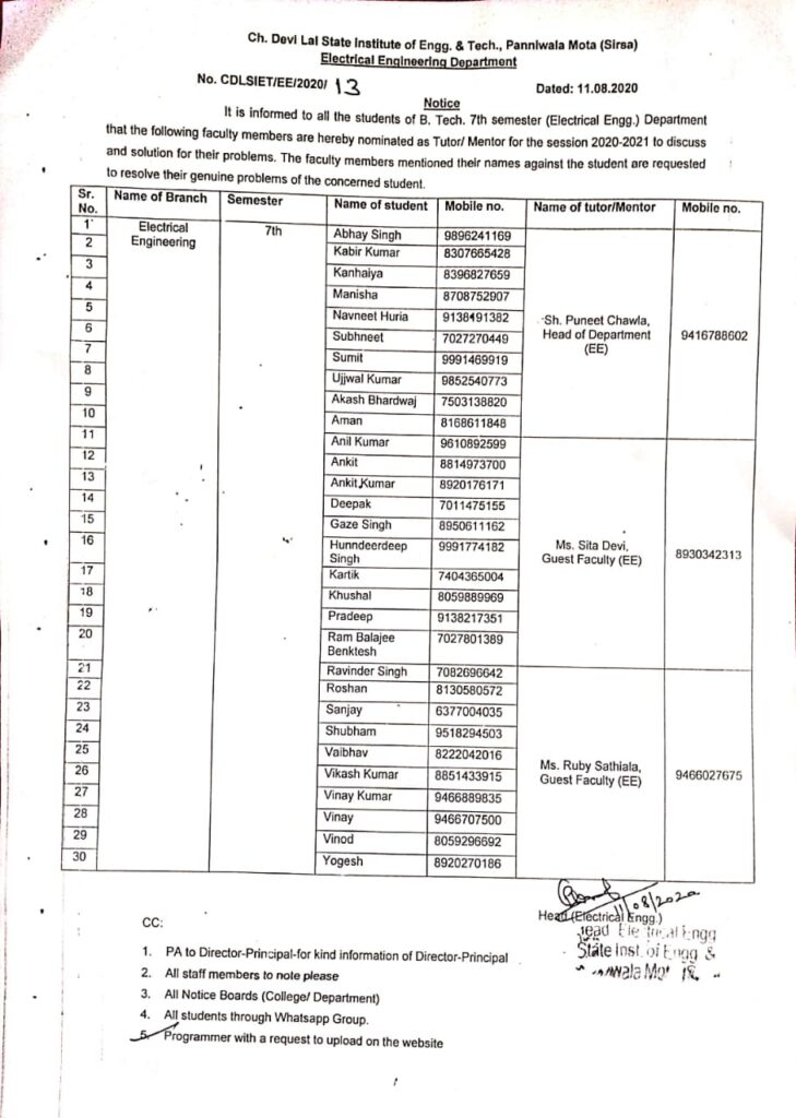 Notice Regarding all the students B.Tech 7th Sem (EE) to