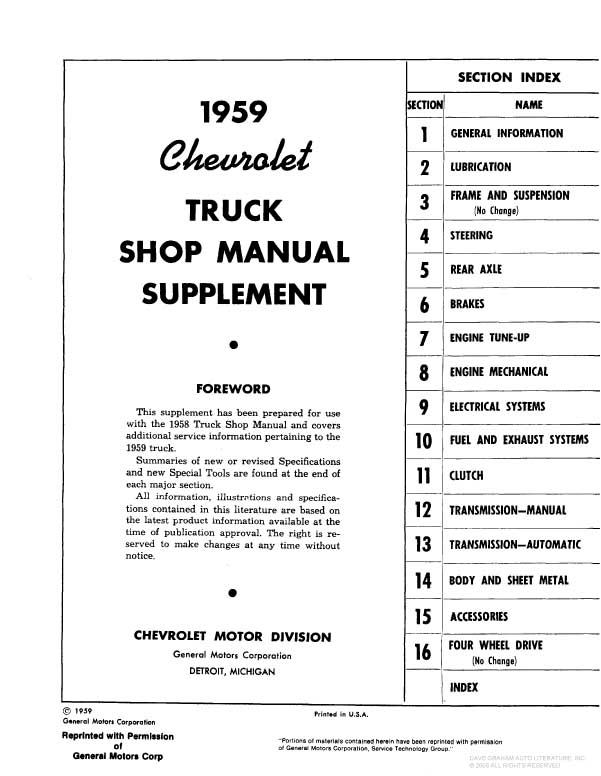 1958-1959 CHEVROLET PICKUP & TRUCK