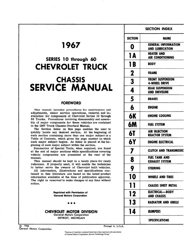 1967 CHEVY 10-60 PICKUP & TRUCK REPAIR MANUAL & OVERHAUL